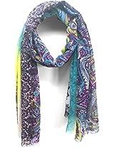 ScarfKing Paisley Design Printed Polyester Women Scarf-Purple Multi