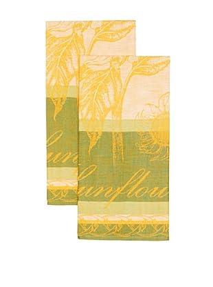 Mierco Fine Linens Set of 2 Sunflowers Jacquard Tea Towels (Green)