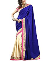 Clickedia Royal blue velvet Beautiful Style Saree (Blue)