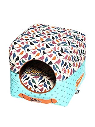 Touchdog Chirpin-Avery Convertible/Reversible Squared 2-in-1 Collapsible Dog House Bed, Bird Pattern