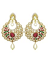 Peora Crescent Pearl Drop Earrings for Women (Red)