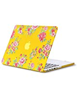 "Kuzy Vintage Flowers Rubberized Hard Case for MacBook Pro 13.3"" with Retina Display A1502 & A1425 - Yellow"