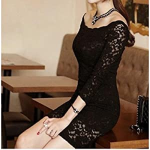 Off Shoulder Lace Dress |Black|S