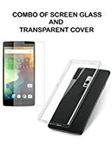 Value Combo Of HD Quality Tempered Glass and Soft Transparent Clear Back Case Cover For OnePlus Two 1+2