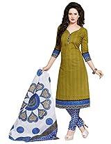 Salwar Studio Olive Green & Blue Cotton Dress Material with Dupatta SHIMAYAA-1212