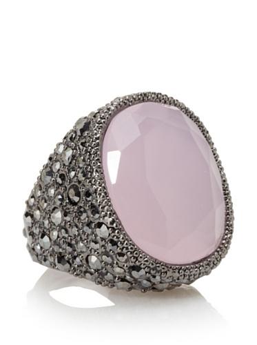 Kenneth Jay Lane Pink Opal/Gunmetal Adjustable Oversized Faceted Cocktail Ring