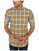 Red Flame Men's Yellow Slim Fit Casual Shirt