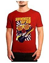 Bushirt Men's Round Neck Cotton T-Shirt (DN00094- Summer of 69_Red_Medium)