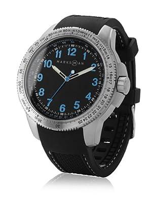 Marksman 10512000 - Reloj de Caballero movimiento de cuarzo con correa de caucho Negro / Azul