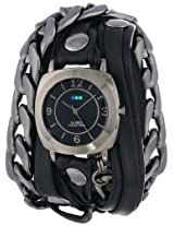 La Mer Collections Women's LMSCW2001 Corsica Watch with Black Leather/Chain Wrap Band