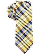 Scott Allan Men's 100% Silk - New Day Plaid Necktie - Daisy Yellow/Blue