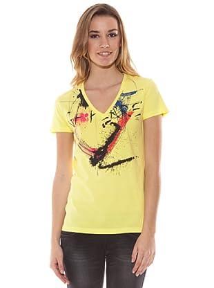 Gianfranco Ferré Camiseta Cuello Pico Y Estampado (Amarillo)