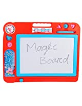Magic Writing Board with Calculation Panel & Pinball Game for Kids Ages 3+ Years, 32 x 40 cm, 1 Piece , Color : Red