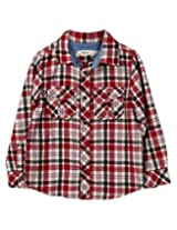 Beebay Boys Check Yarn Dyed Shirt (B0215207821113_Maroon Check_7Y)