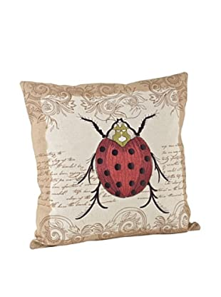 Saro Lifestyle Natural Ladybug Square Pillow