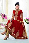 Riti Riwaz Exclusive Suits Red Georgette Anarkali Semi Stitched Dress Material Sau2111