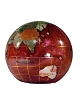 Unique Art 3-Inch Amberlite Pearl Swirl Ocean Gemstone World Globe Paper Weight