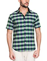Zovi Cotton Slim Fit Casual Green and Blue Checkered Shirt(11894403101_Medium)