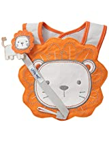 Little Me Baby Boys' Lion Bib and Pacifier Holder