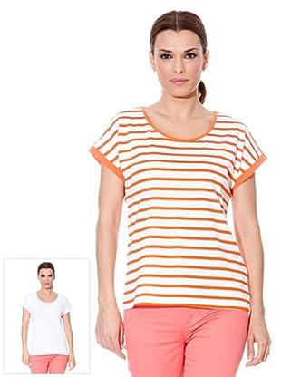 Cortefiel T-Shirt Streifen 2er Pack (Orange/Weiß)