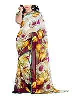 Shree Balaji Syntheticas Women's Faux Georgette Self Print Saree (Multi-Coloured)