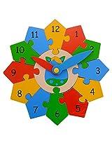 Skillofun Wooden Construction Your Clock , Multi Color
