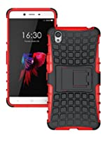 OnePlus X Case, Ziaon (TM) Flip Kickstand Rugged Dual Layer Hybrid Case for OnePlus X - Red (Free Screen Guard)