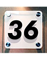 Squarica - House Number Sign - White Back - 11 cms x 11 cms
