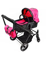 Pink Babyboo Deluxe Convertible Doll Stroller With Swiveling Wheels And Free Carriage Bag
