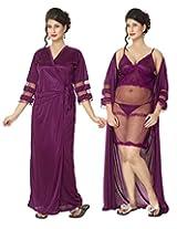 KuuKee Women's Satin Wine colored nightwear (10009_Wine_L)