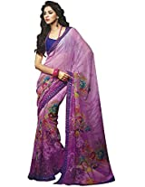 Faux Georgette Saree in Purple Colour for Casual Wear Wear