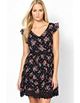 Enchanted Floral Black Skater Dress With Lace Trim