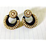 Medium size Black chandbali with pearl outline to give a rich look to your outfit