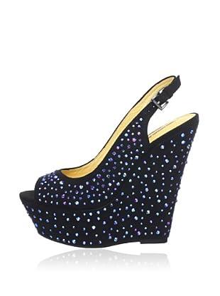 Buffalo London 312-4986 IMI SUEDE DIAMOND 144687 - Zapatos con correa de tobillo  mujer (Negro)