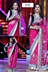 Madhuri Dixit Designer Net Bollywood Style Dark Pink Saree - 1334