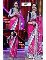 Net Sarees - Madhuri Dixit Designer Bollywood Style Dark Pink Saree