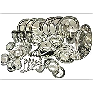 RBJ Stainless Steel Dinner Set 51 Pcs Silver Touch Best Quality Mirror Finish Heavy Gauge