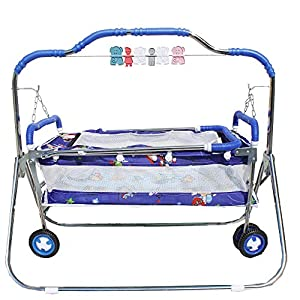 My Angel Steelcraft 6 In 1 Baby Cradle, Cot, Crib, Bassinet, Stroller, and Swing - Blue