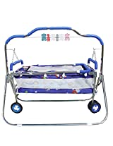 Steelcraft 6 in 1 Baby Cradle, Cot, Crib, Bassinet, Stroller, and Swing - Blue