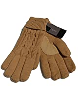Isotoner Solid Triple Cable Palm Gloves (One Size, Khaki)