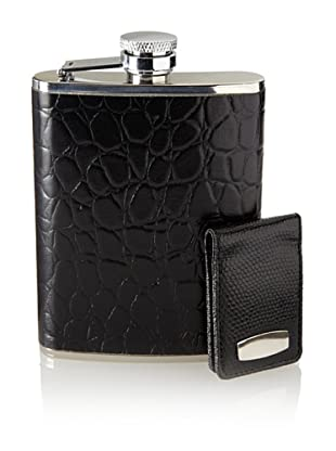 Wilouby Stainless Steel Flask/Money Clip Gift Set, Black