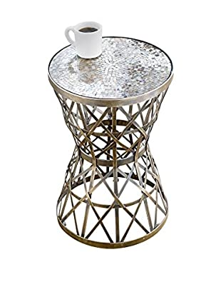 Home Philosophy Woven Brass Table with Amber Mosaic Top