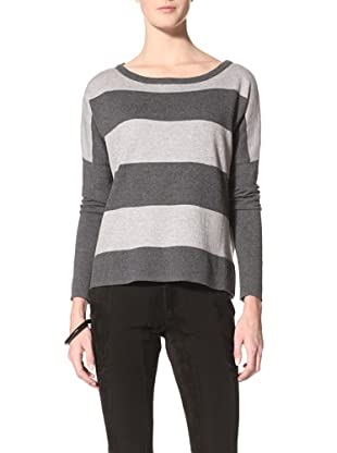 Suss Knitwear Women's Susie Wide Striped Pullover (Dark Charcoal/Heather Grey)