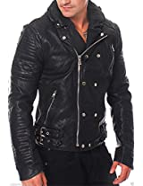 Iftekhar Men's Pure leather Jacket - Black - (Iftekhar26 - M)