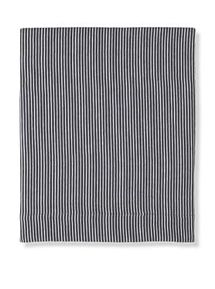 Coyuchi Mini Stripe Cotton/Linen Flat Sheet (Indigo/White)