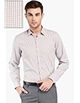 Beige Checks Slim Fit Formal Shirt Mark Taylor
