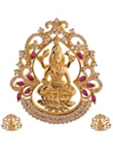Ganapathy Gems 1 Gram Gold Plated Lakshmi Pendant Set With Ruby Cz Stones (8406)