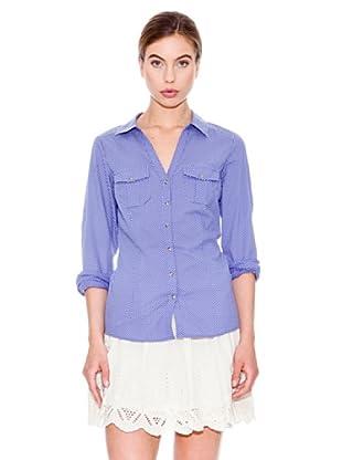 Mango Camisa Topito (Blanco / Azul Marino)