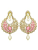 Peora Crescent Baby Pink Pearl Drop Earrings for Women