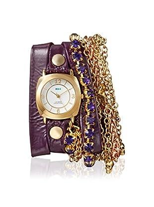 La Mer Collections Women's LMMULTI7618 Skull Amethyst Chandelier Purple Leather Watch